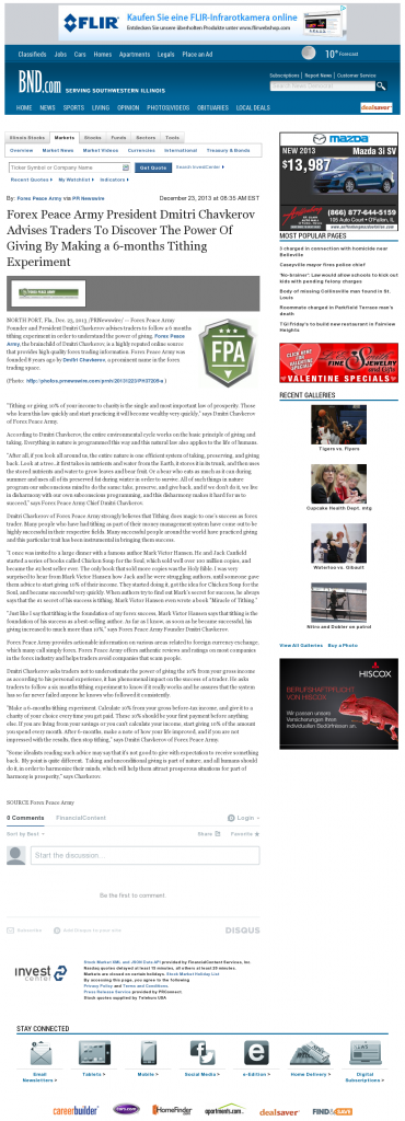 Forex Peace Army - Belleville News-Democrat- discover power of giving
