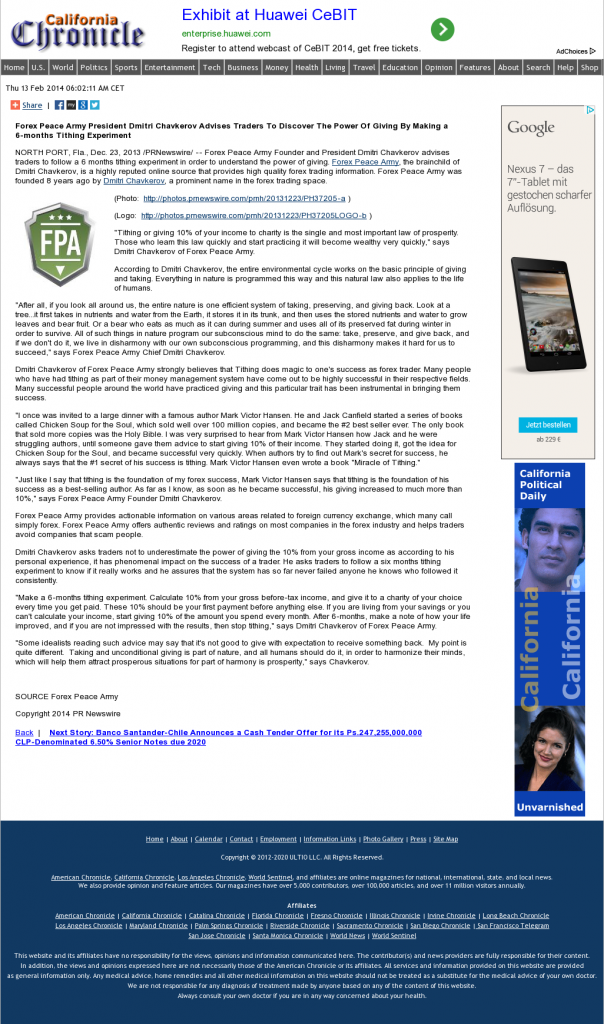 Forex Peace Army - California Chronicle- discover power of giving