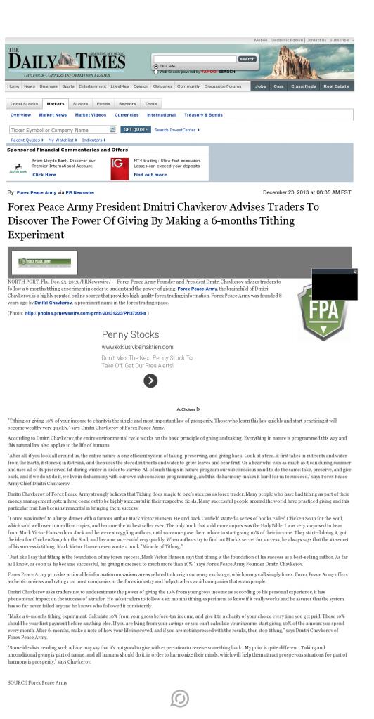 Forex Peace Army - Farmington Daily Times (Farmington, NM)- discover power of giving