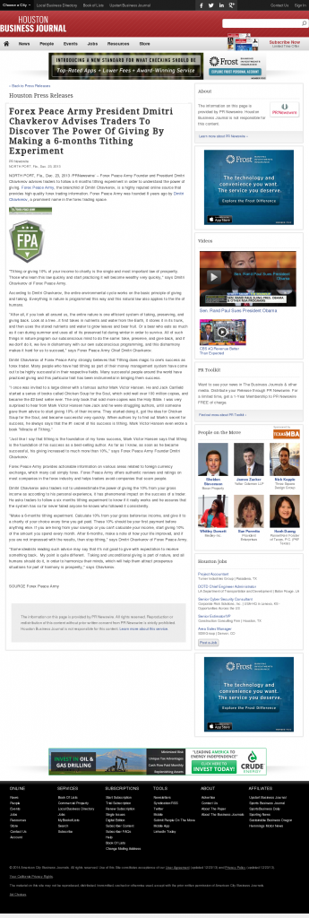 Forex Peace Army - Houston Business Journal- discover power of giving