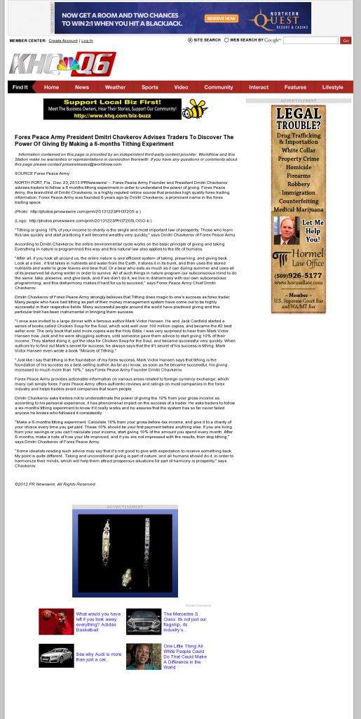 Forex Peace Army - KHQ-TV NBC-6 (Spokane, WA)- discover power of giving
