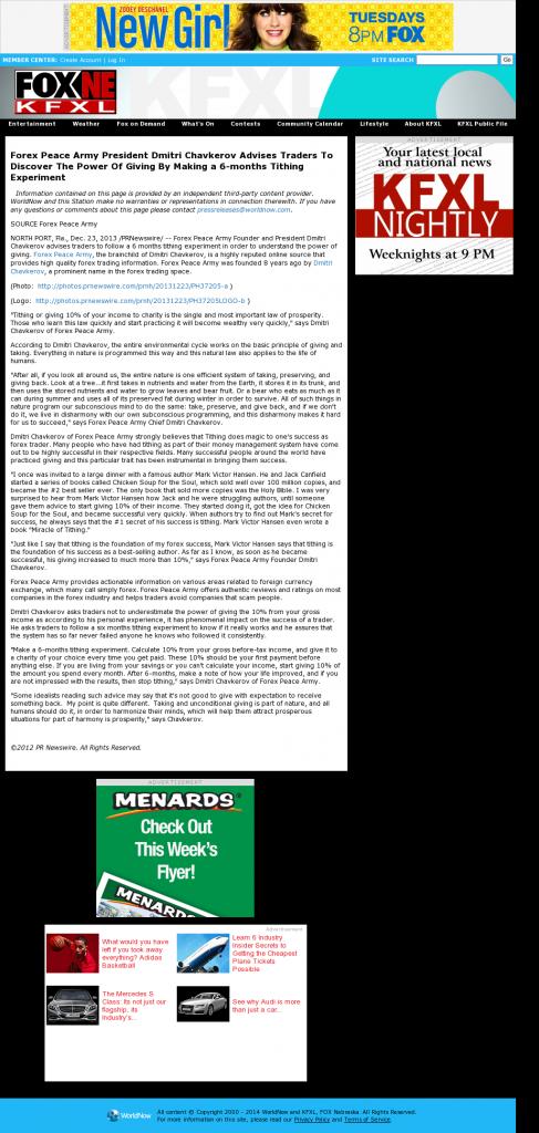 Forex Peace Army - KTVG-TV FOX-17 / KSNB-TV FOX-4 (Kearney, NE)- discover power of giving