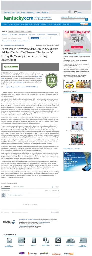 Forex Peace Army - Lexington Herald-Leader (Lexington, KY)- discover power of giving