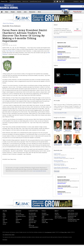 Forex Peace Army - Nashville Business Journal- discover power of giving