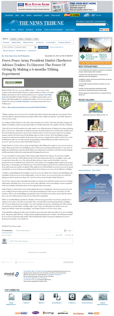 Forex Peace Army - News Tribune (Tacoma, WA)- discover power of giving
