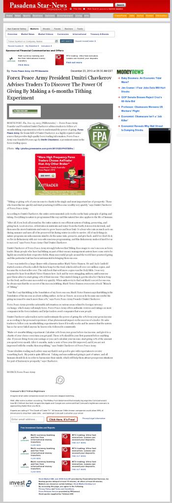 Forex Peace Army - Pasadena Star-News (Pasadena, CA)- discover power of giving