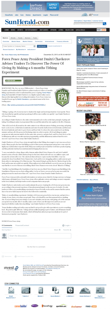 Forex Peace Army - Sun Herald (Biloxi, MS)- discover power of giving