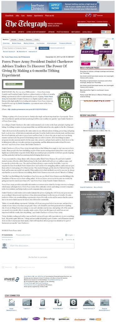 Forex Peace Army - Telegraph-Macon (Macon, GA)- discover power of giving