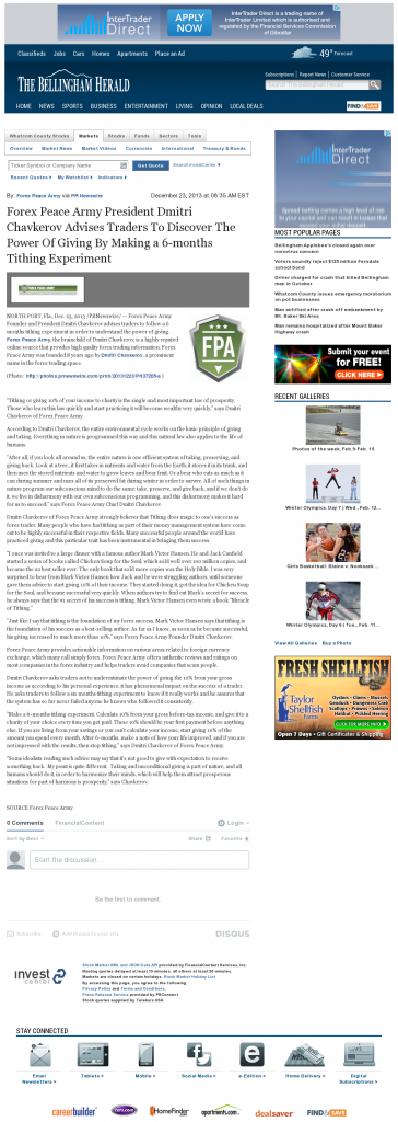 Forex Peace Army - The Bellingham Herald- discover power of giving