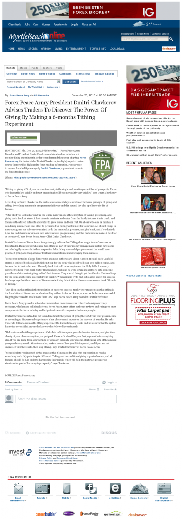 Forex Peace Army - The Sun News (Myrtle Beach, SC)- discover power of giving