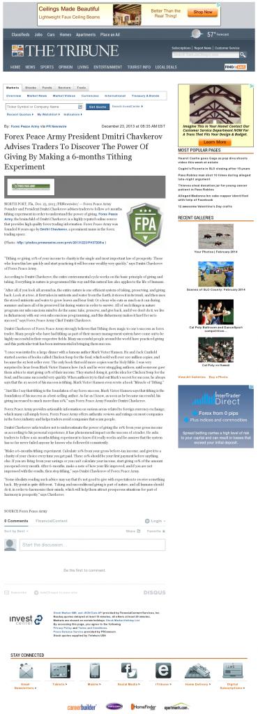 Forex Peace Army - Tribune (San Luis Obispo, CA)- discover power of giving