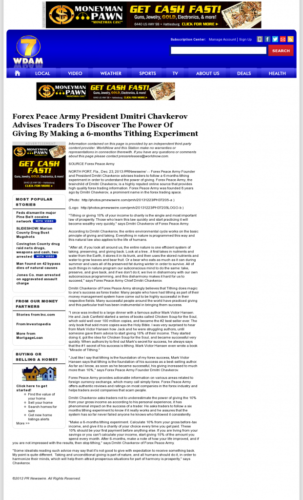 Forex Peace Army - WDAM NBC-7 (Hattiesburg-Laurel, MS)- discover power of giving