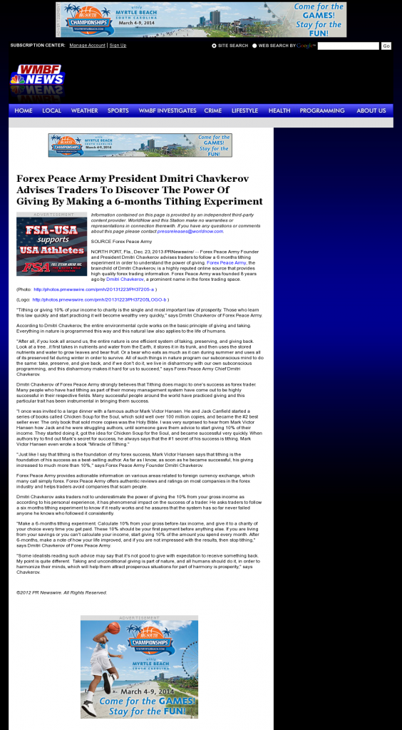Forex Peace Army - WMBF NBC-32 (Myrtle Beach, SC)- discover power of giving