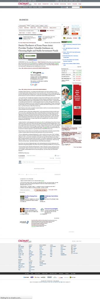 Dmitri Chavkerov | Investment Fund Advise in Cincinnati Enquirer