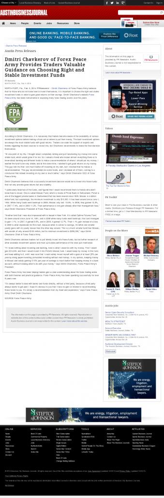 Dmitri Chavkerov - Austin Business Journal- considering stable investment options