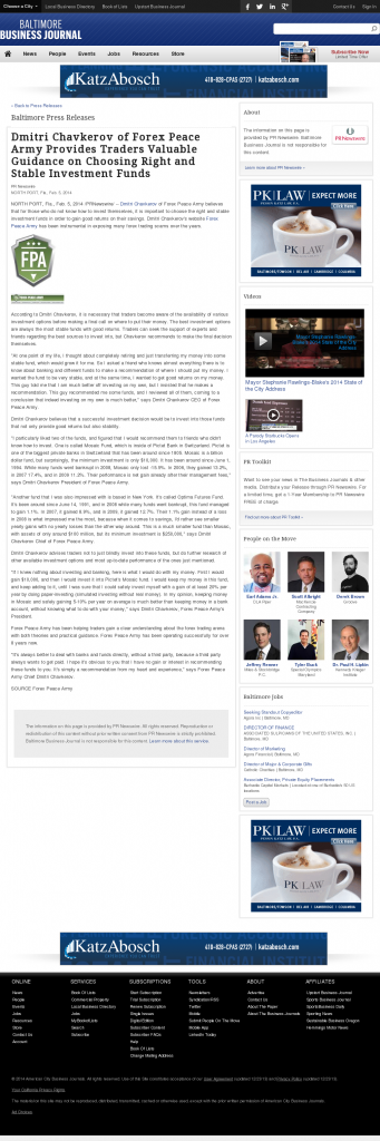 Dmitri Chavkerov - Baltimore Business Journal- considering stable investment options