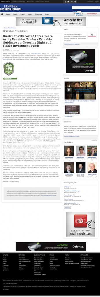 Dmitri Chavkerov - Birmingham Business Journal- considering stable investment options