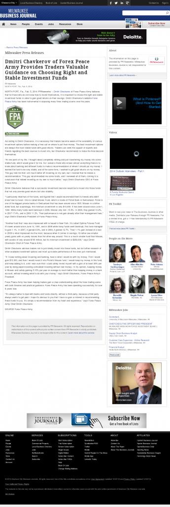 Dmitri Chavkerov - Business Journal of Greater Milwaukee- considering stable investment options