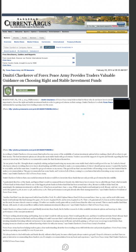 Dmitri Chavkerov - Carlsbad Current-Argus (Carlsbad, NM)- considering stable investment options