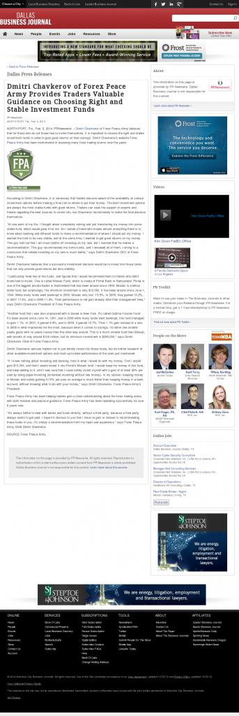 Dmitri Chavkerov - Dallas Business Journal- considering stable investment options