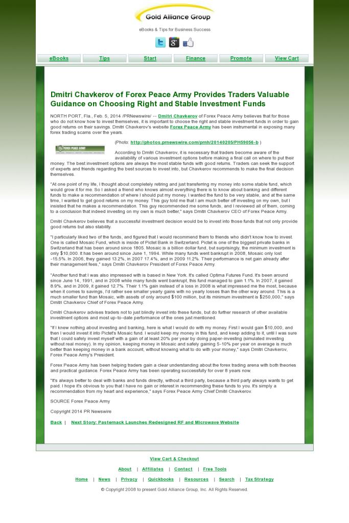 Dmitri Chavkerov - Gold Alliance Group- considering stable investment options