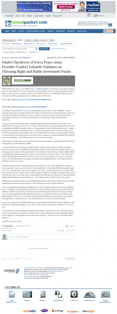Dmitri Chavkerov - Island Packet (Bluffton, SC)- considering stable investment options