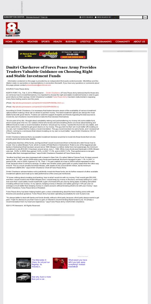 Dmitri Chavkerov - KAIT ABC-8 (Jonesboro, AR)- considering stable investment options