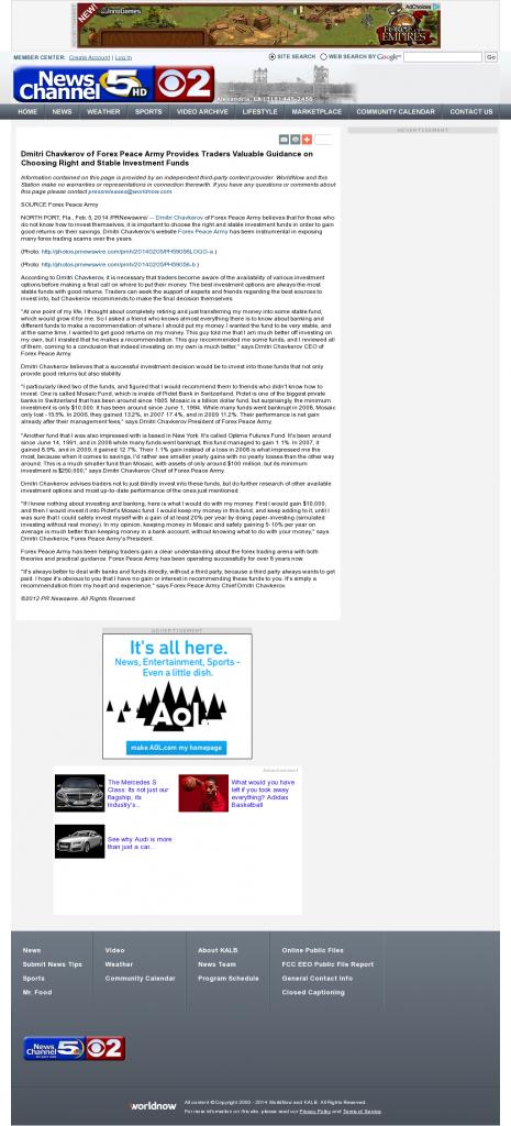 Dmitri Chavkerov - KALB-TV CBS-2 / NBC-5 (Alexandria, LA)- considering stable investment options