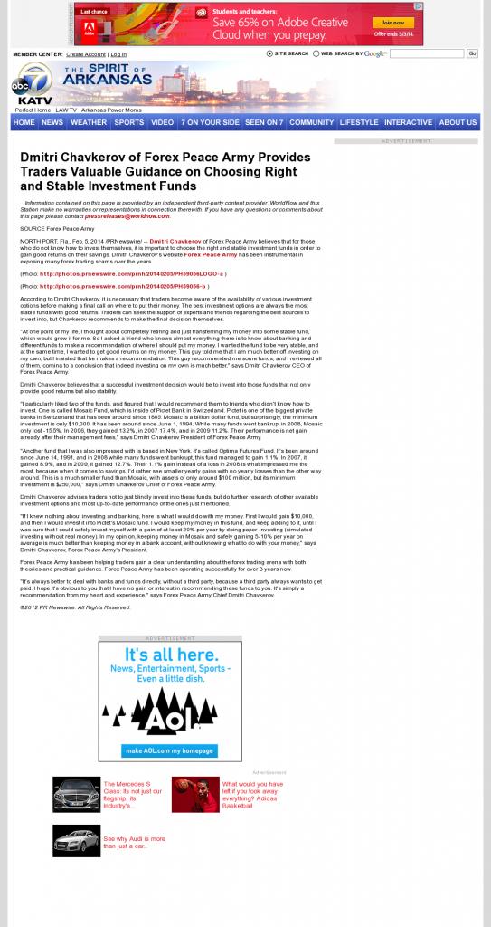 Dmitri Chavkerov - KATV-TV ABC-7 (Little Rock, AR)- considering stable investment options