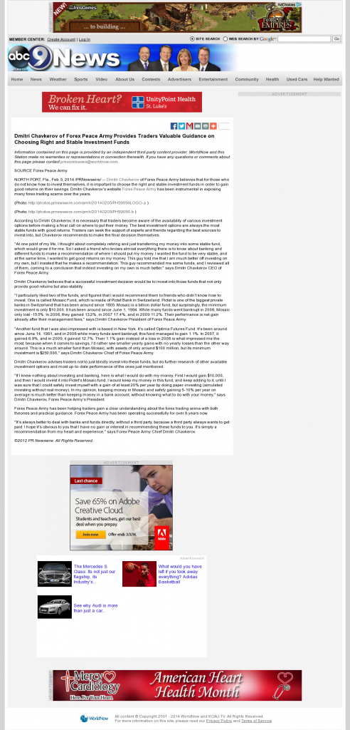 Dmitri Chavkerov - KCAU ABC-9 (Sioux City, IA)- considering stable investment options