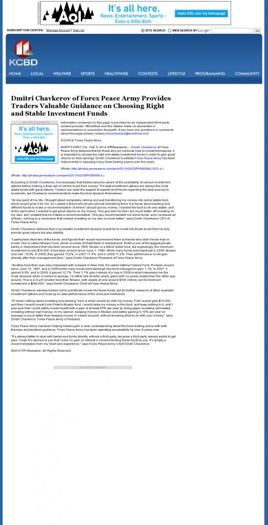 Dmitri Chavkerov - KCBD NBC-11 (Lubbock, TX)- considering stable investment options