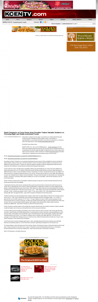Dmitri Chavkerov - KCEN-TV NBC-9 (Temple, TX)- considering stable investment options