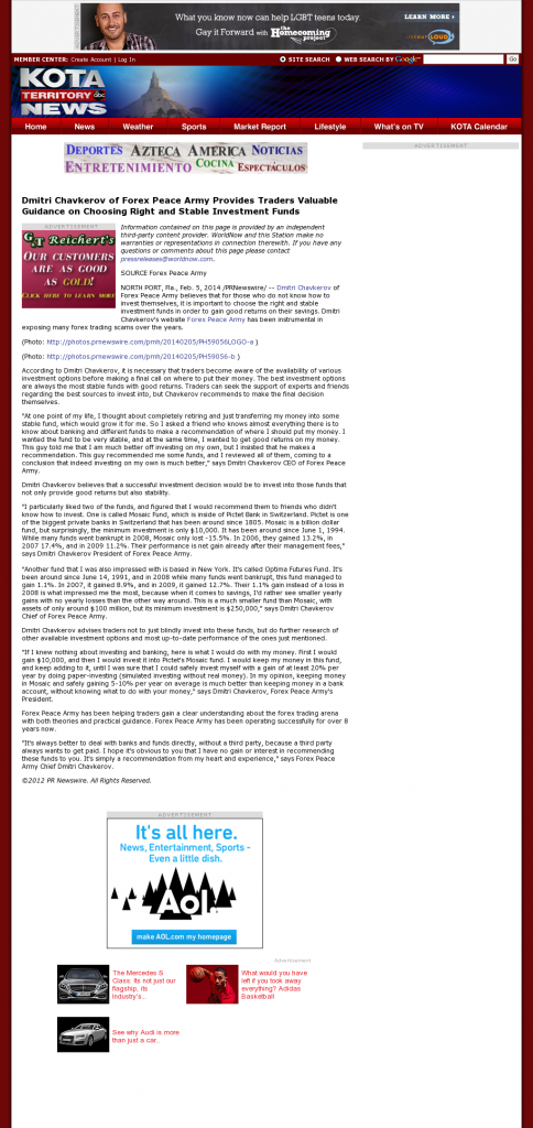 Dmitri Chavkerov - KDUH-TV ABC-3 (Scottsbluff, NE)- considering stable investment options