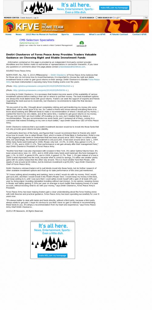 Dmitri Chavkerov - KFVE MyNetworkTV-5 (Honolulu, HI)- considering stable investment options