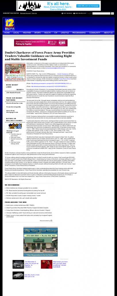 Dmitri Chavkerov - KFVS CBS-12 (Cape Girardeau, MO)- considering stable investment options