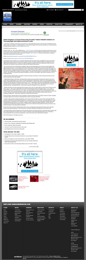 Dmitri Chavkerov - KHNL-TV NBC-8 (Honolulu, HI)- considering stable investment options