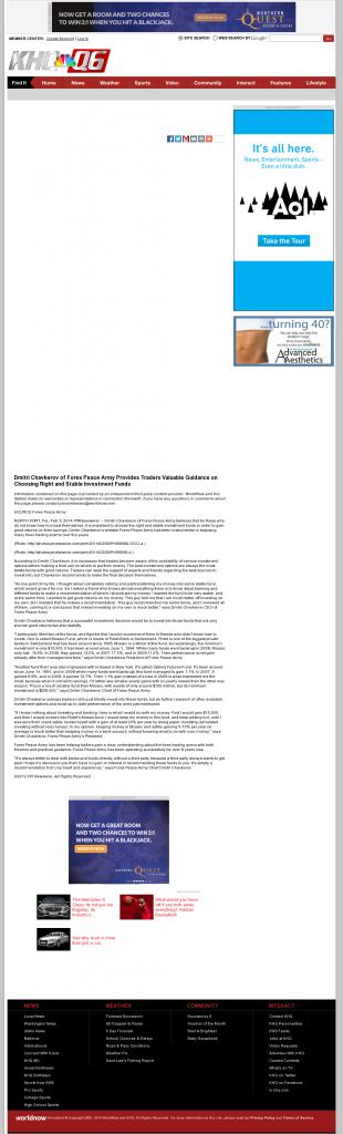 Dmitri Chavkerov - KHQ-TV NBC-6 (Spokane, WA)- considering stable investment options