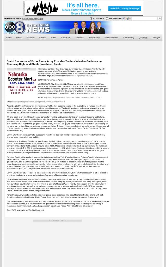 Dmitri Chavkerov - KLKN ABC-8 (Lincoln, NE)- considering stable investment options