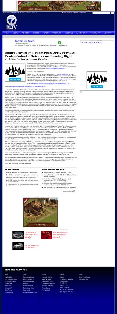 Dmitri Chavkerov - KLTV ABC-7 (Tyler, TX)- considering stable investment options