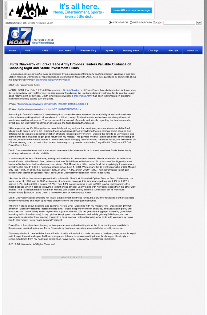 Dmitri Chavkerov - KOAM-TV CBS-7 (Pittsburg, KS)- considering stable investment options