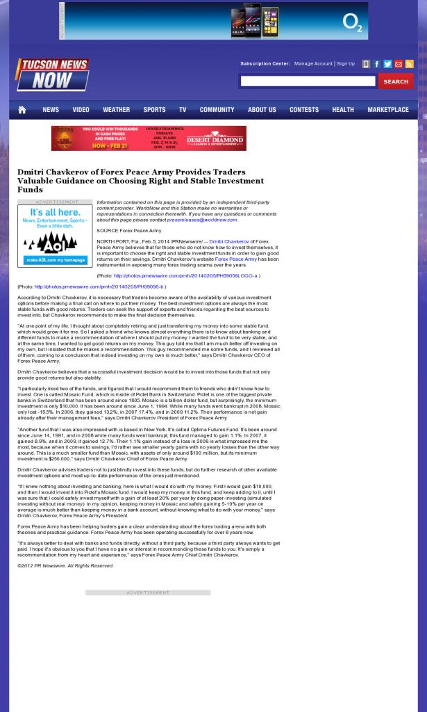 Dmitri Chavkerov - KOLD CBS-13 (Tucson, AZ)- considering stable investment options