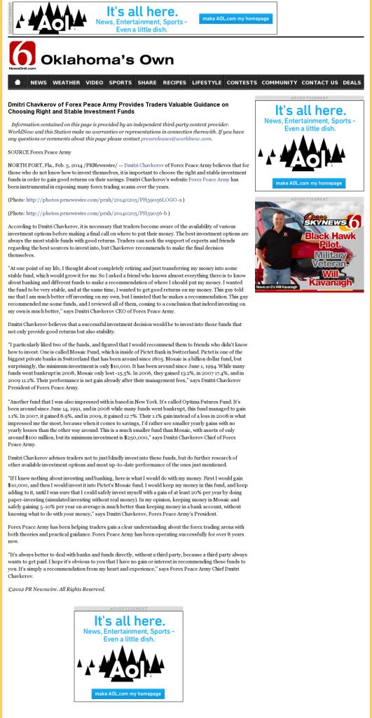 Dmitri Chavkerov - KOTV-TV CBS-6 (Tulsa, OK)- considering stable investment options