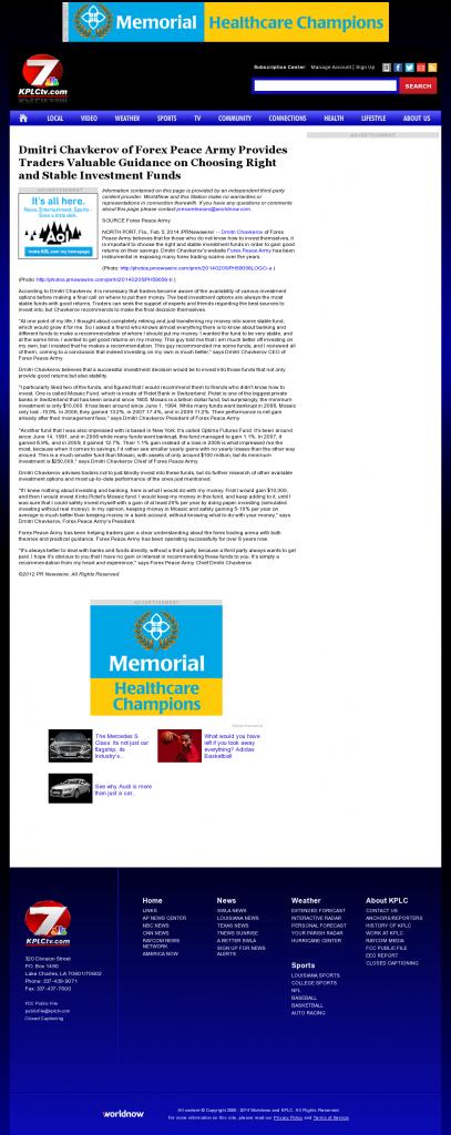 Dmitri Chavkerov - KPLC NBC-7 (Lake Charles-Lafayette, LA)- considering stable investment options