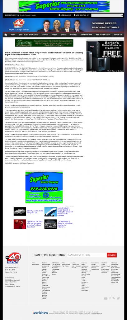 Dmitri Chavkerov - KRHD-TV ABC-40 (Bryan-College Station, TX)- considering stable investment options
