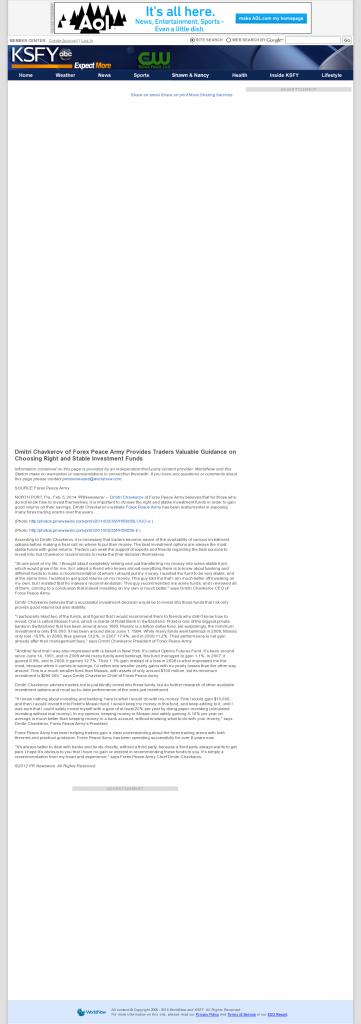 Dmitri Chavkerov - KSFY-TV ABC-13 (Sioux Falls, SD)- considering stable investment options