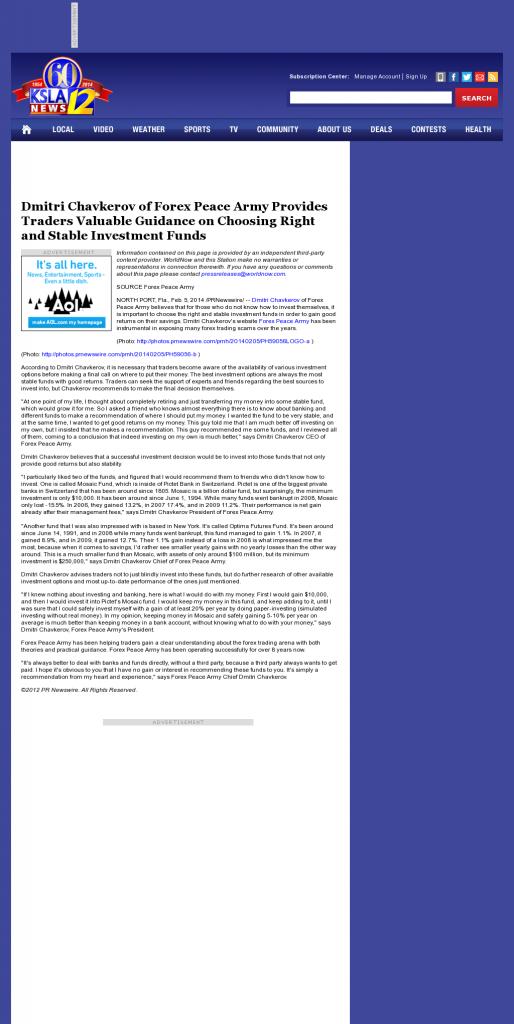 Dmitri Chavkerov - KSLA CBS-12 (Shreveport, LA)- considering stable investment options