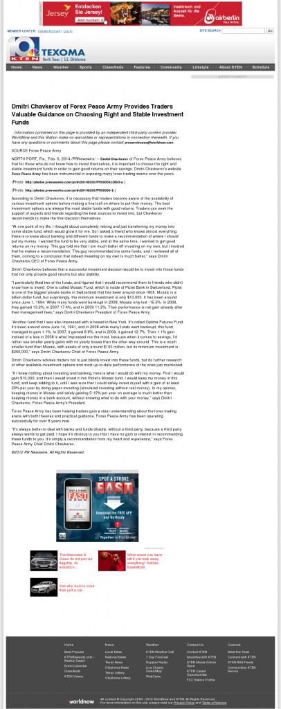 Dmitri Chavkerov - KTEN NBC-10 (Denison, TX)- considering stable investment options