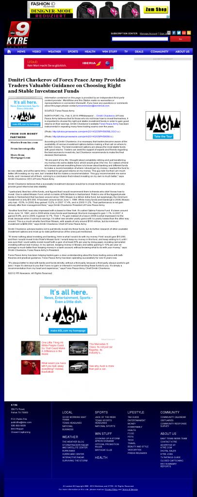 Dmitri Chavkerov - KTRE ABC-9 (Lufkin, TX)- considering stable investment options