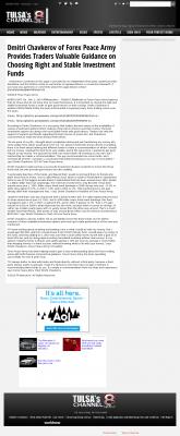 Dmitri Chavkerov -  KTUL-TV ABC-8 (Tulsa, OK) - considering stable investment options