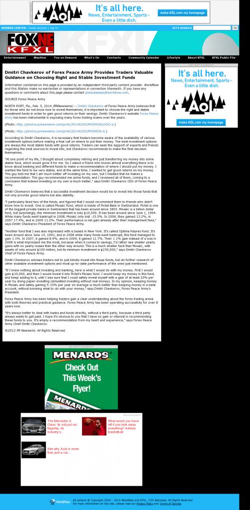 Dmitri Chavkerov - KTVG-TV FOX-17 / KSNB-TV FOX-4 (Kearney, NE)- considering stable investment options